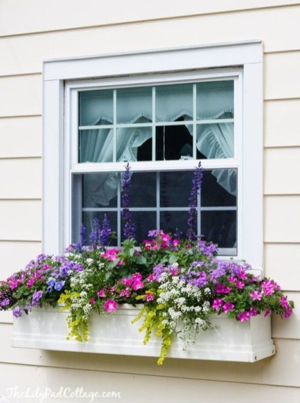 Exterior decoration ideas with flower in window 20