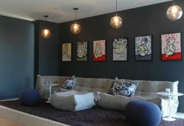 Living room gray wall color design ideas 07