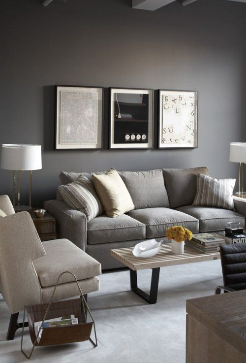 Living room gray wall color design ideas 12