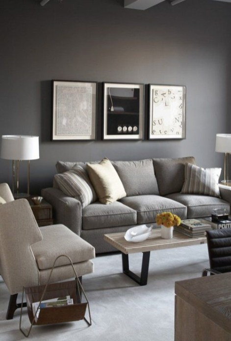 Living room gray wall color design ideas 12