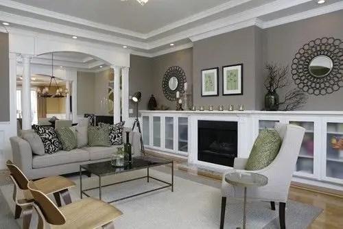 Living room gray wall color design ideas 15
