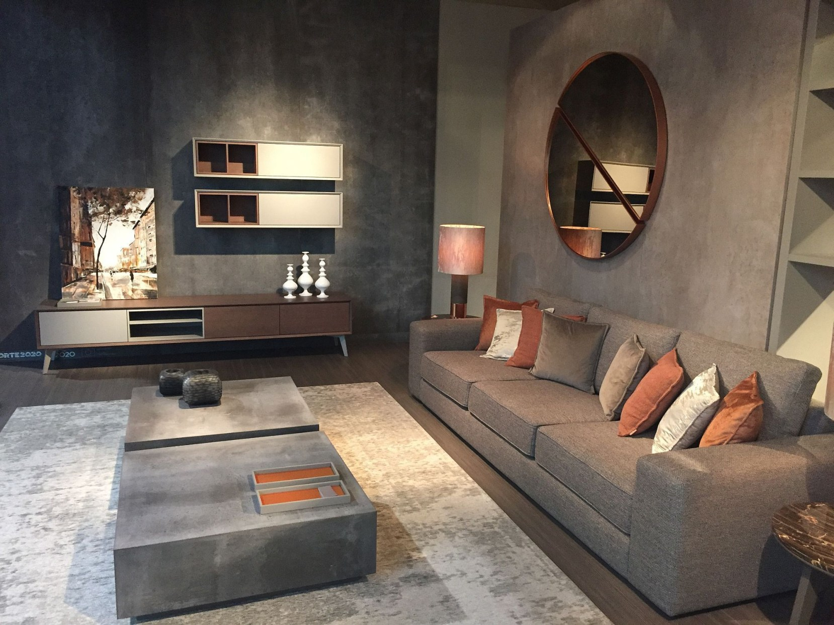 Living room gray wall color design ideas 16