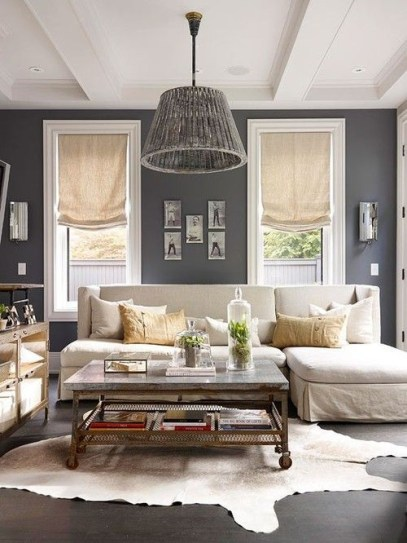 Living room gray wall color design ideas 17