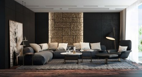 Living room gray wall color design ideas 26