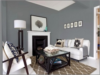 Living room gray wall color design ideas 36