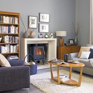 Living room gray wall color design ideas 43