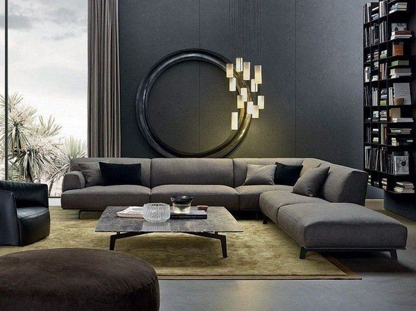 45 Living Room with Gray Wall Color Design Ideas