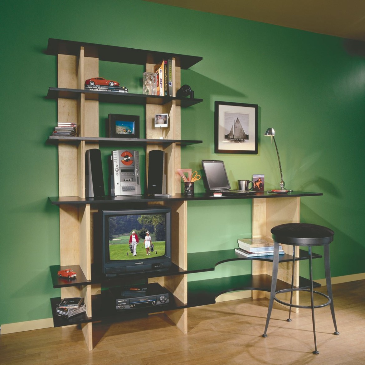 A beautiful baltic birch plywood for modular shelving, storage and desk unit
