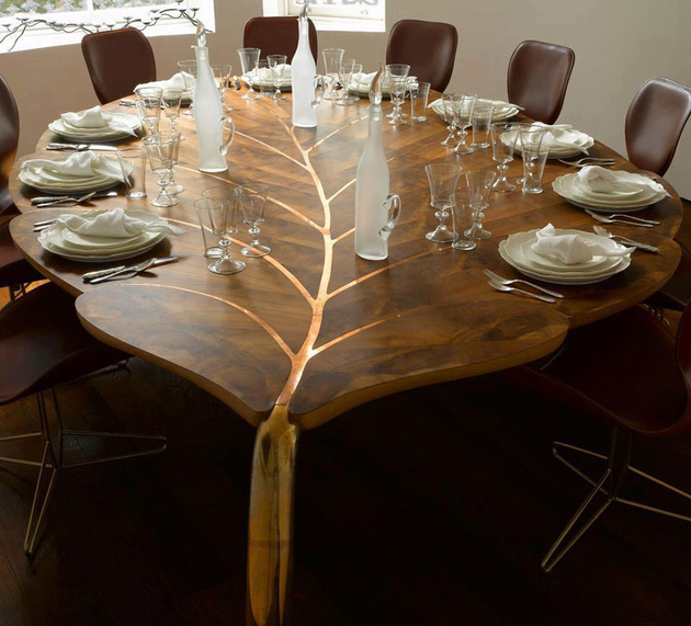 An awesome nature elements furniture for dining room with leaf pattern wood table to perfect your dining room