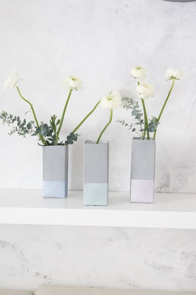 Beautiful diy tetra pak vans with gray paint, square shape to complete your living room