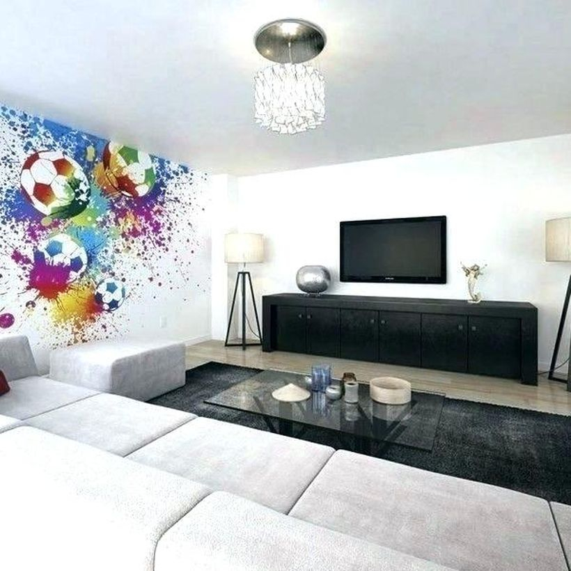Best living room design ideas with splashes of color with ball motifs, white sofas, black carpets