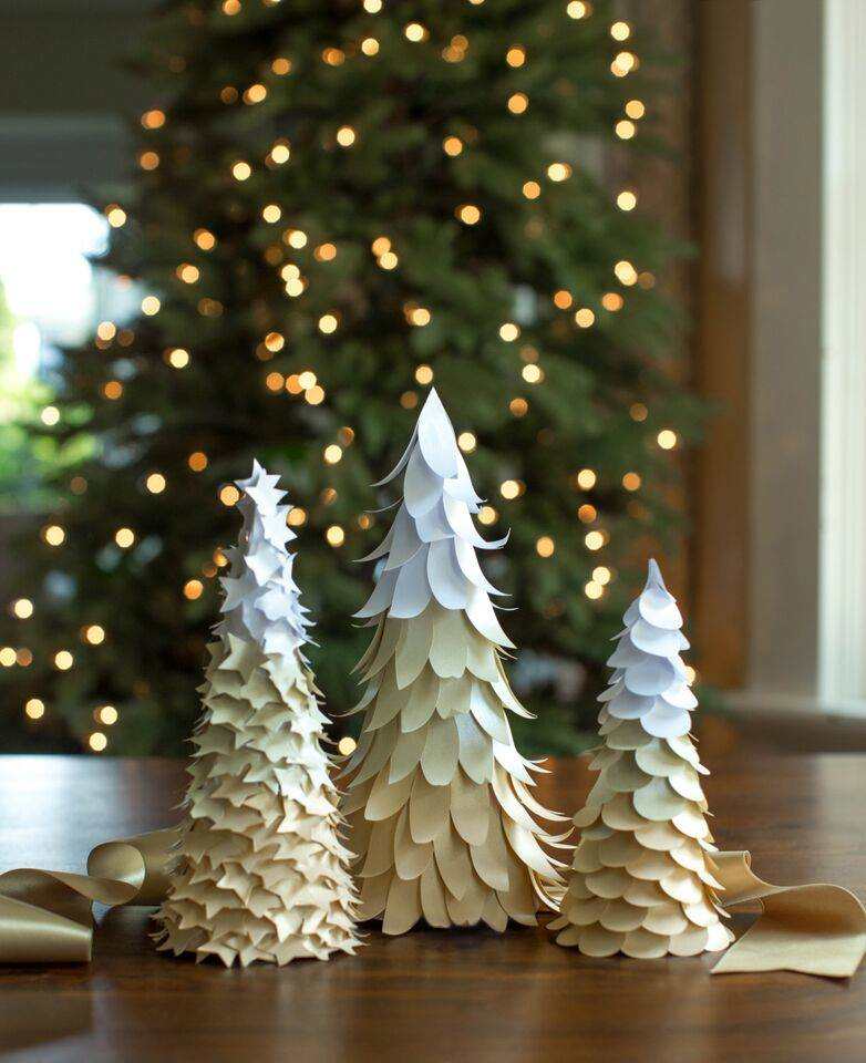 Elegant winter paper trees cone for kids with white and light blue color