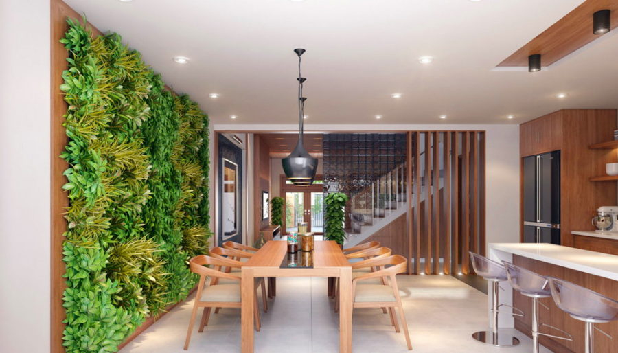 Gorgeous dining room ideas with green wall to create natural impression