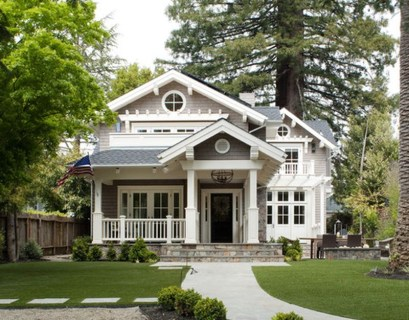Simple classic exterior with light grey roof, white walls and green open space to complete your house