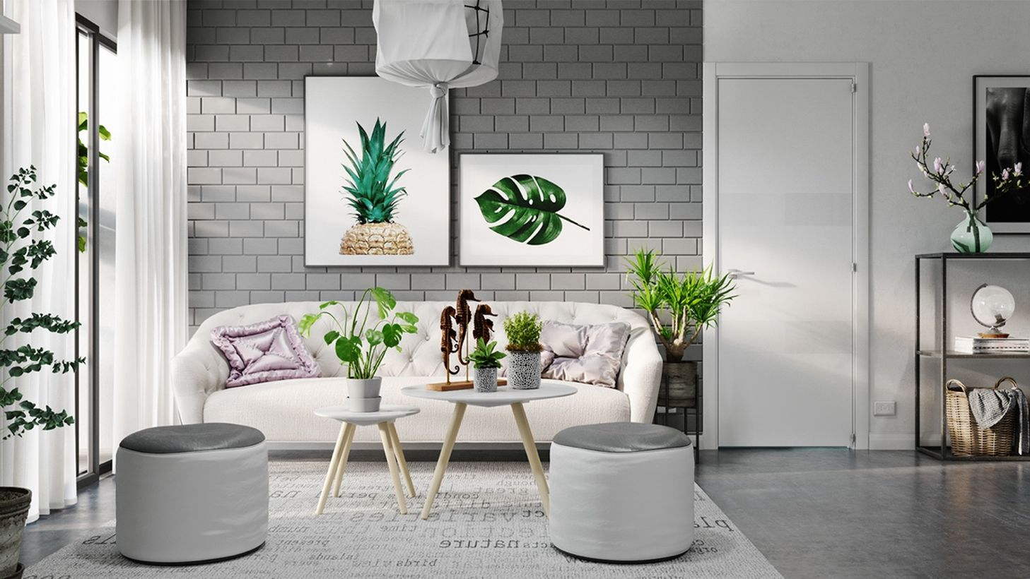 A cozy living room grey home design with white and grey sofas, grey brick walls, house plants, painting hung on the walls, and white curtains