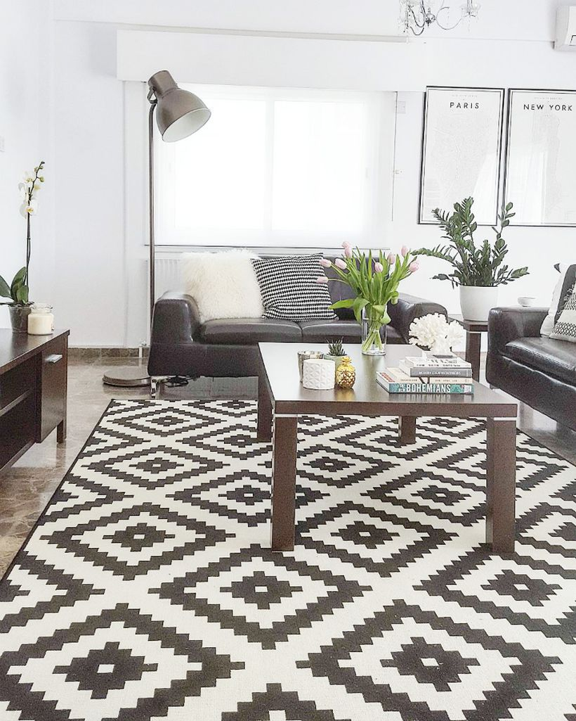 A stunning modern black and white living room with a unique black and white pattern rug, a floor lamp, black leather sofas, coffee table, and house plants to freshen up your room