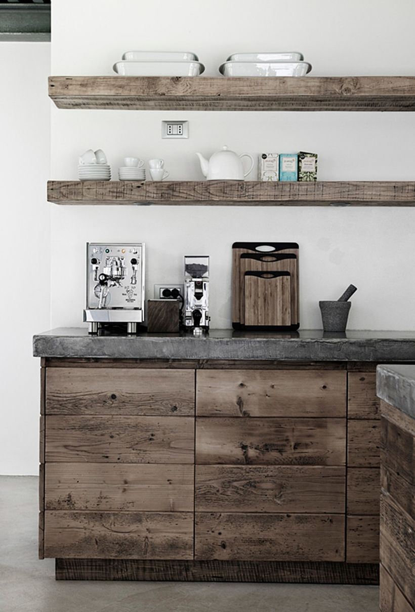 An amazing rustic style open kitchen shelving design for your kitchen