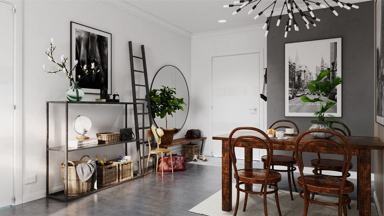An interesting grey dining room with white and grey walls, a black and white led, and wooden furniture