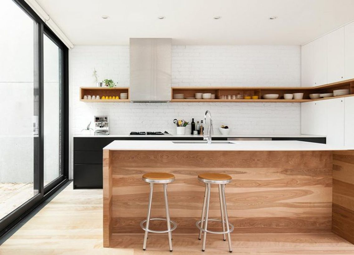 Best stylish hanging rack on the walls that looks well on this minimalist kitchen