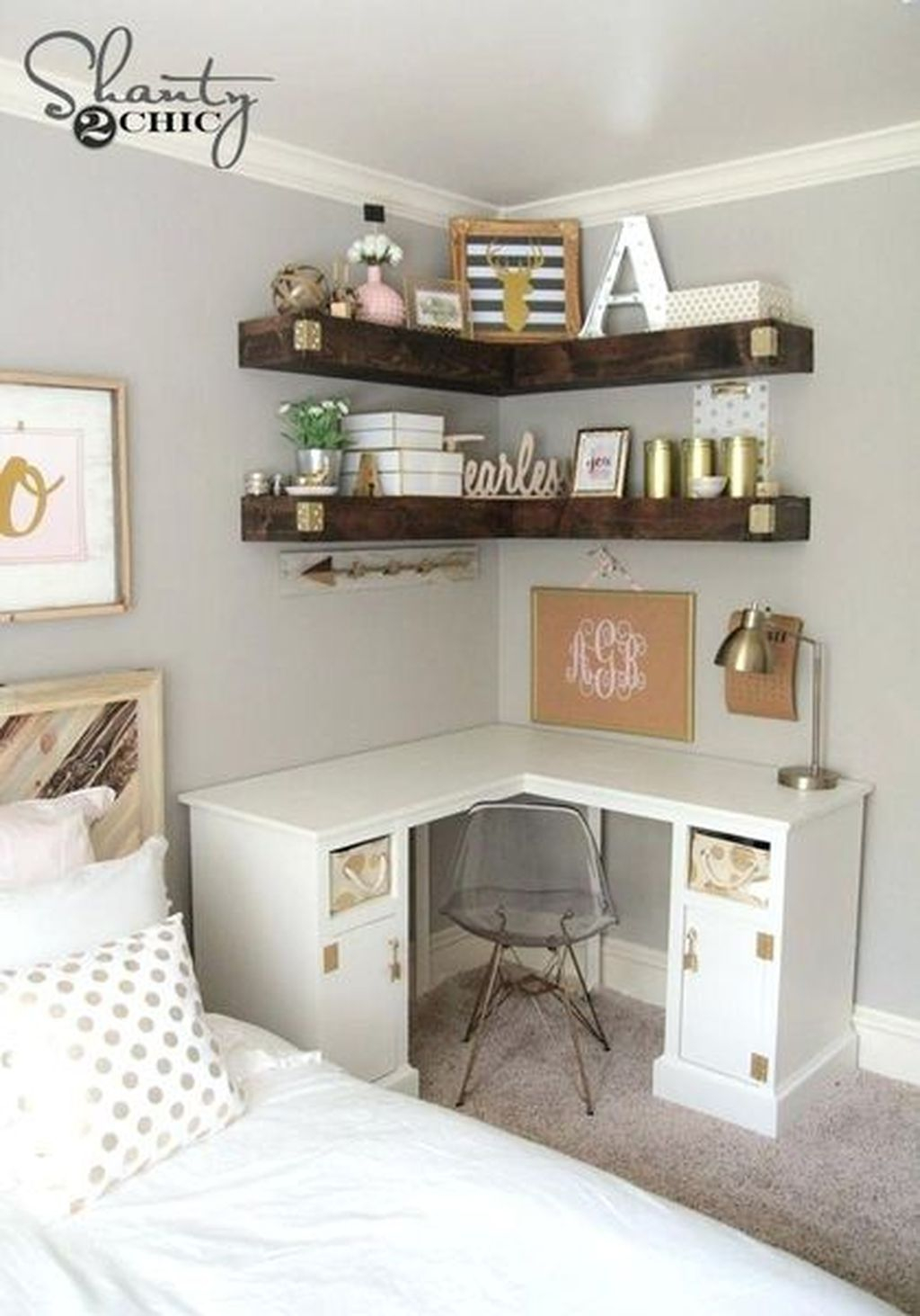 An amazing diy shelves for teen girl bedroom add more storage for your small space with some floating corner shelves