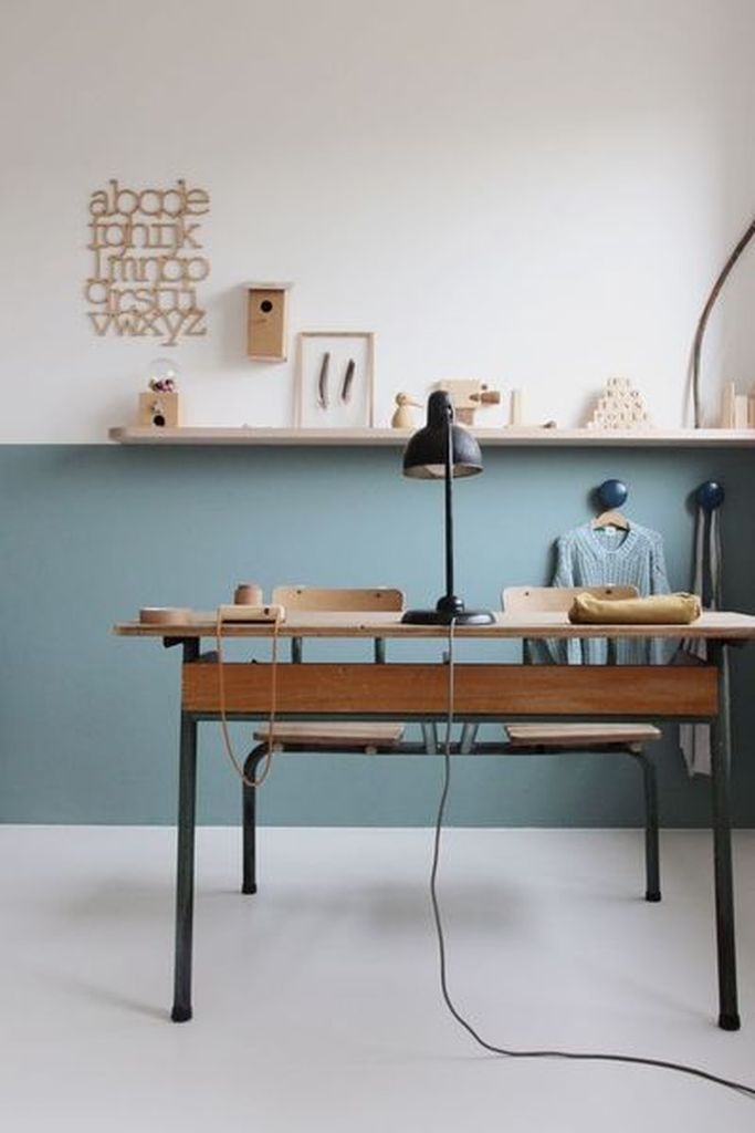 An amazing two tone sea blue home office decoration combined with simple furniture that consist of wooden table and rack on the wall to perfect your neutral office home