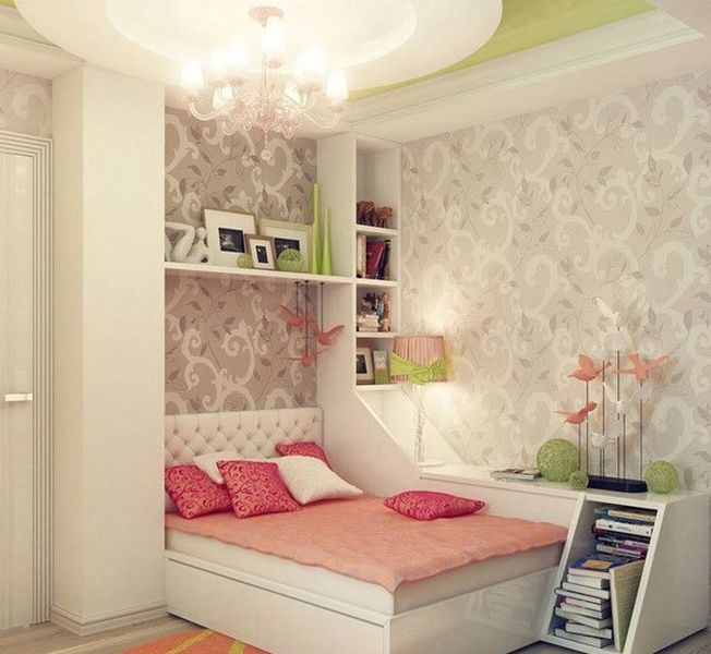 An awesome wallpaper bedroom combined with soft-toned-colored in each element to perfect your bedroom