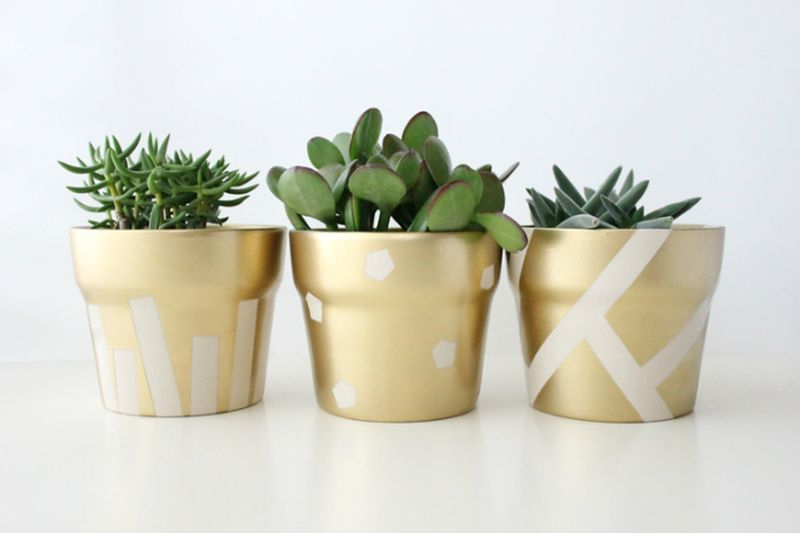 An elegant plastic pots with gold color to make your beautiful garden