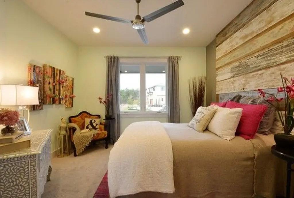 Beautiful bedroom with wooden headboard