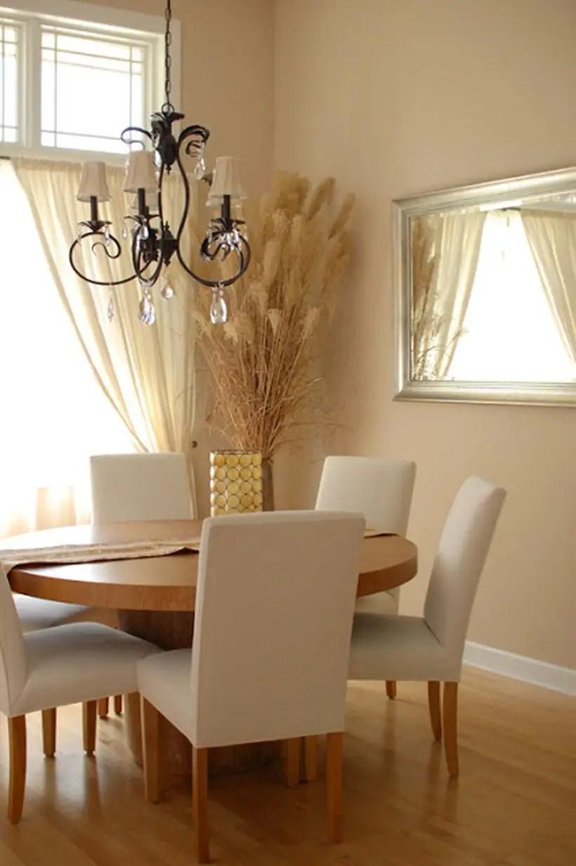 Beige color in the dining room to make more elegant