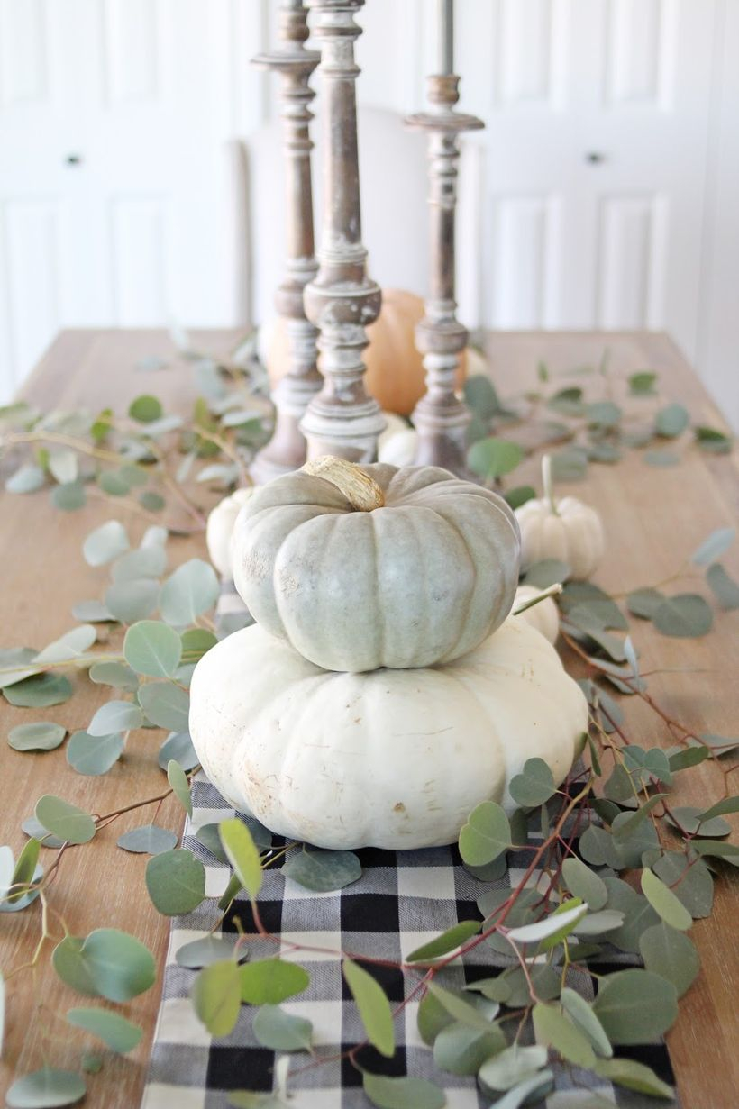 Best white pumpkin ornaments with dry green leaves for centerpiece table