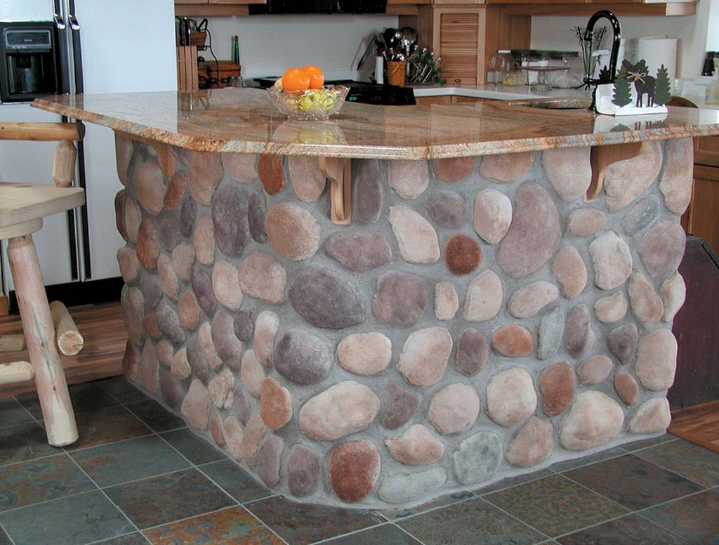 Brilliant kitchen design ideas with river stone kitchen island to perfect your natural kitchen