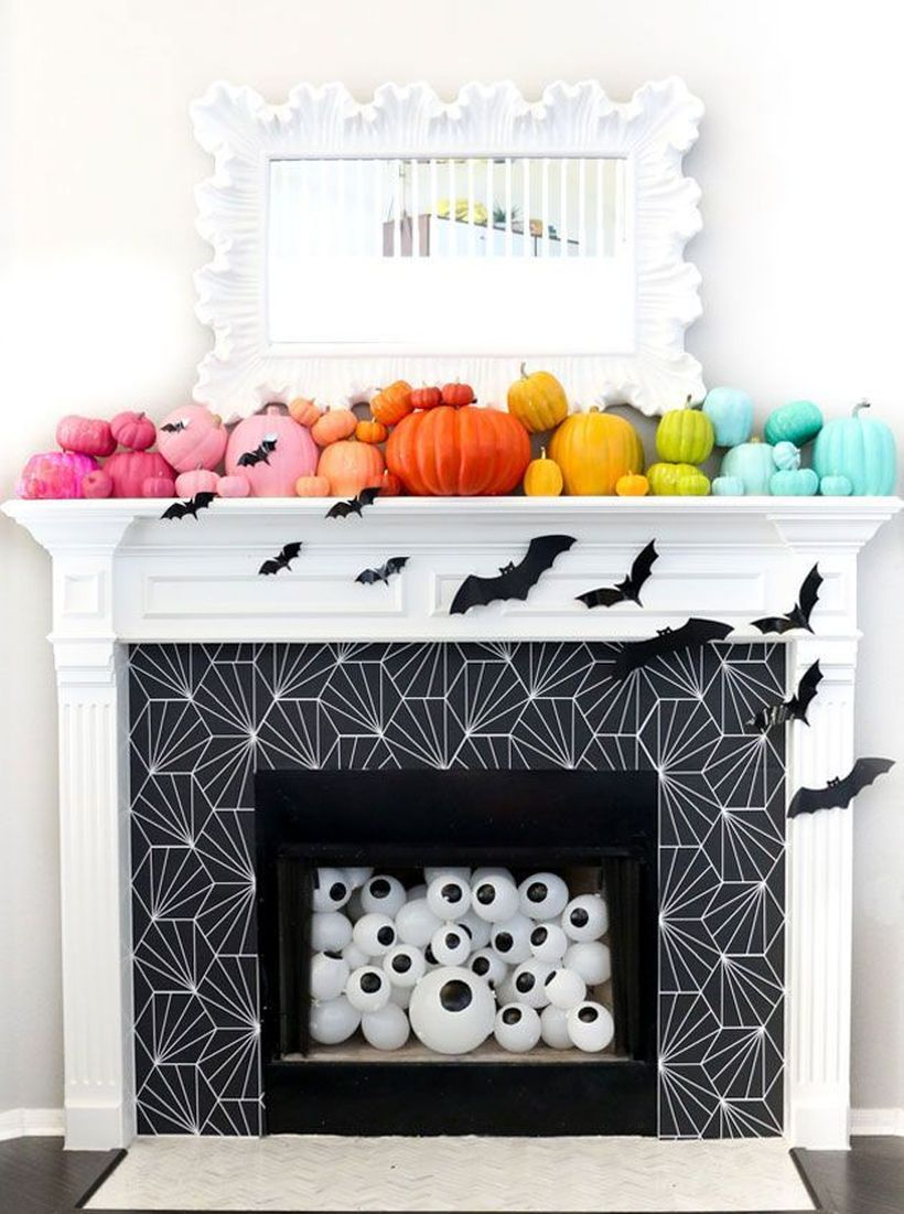 Colorful pumpkin fireplace decoration