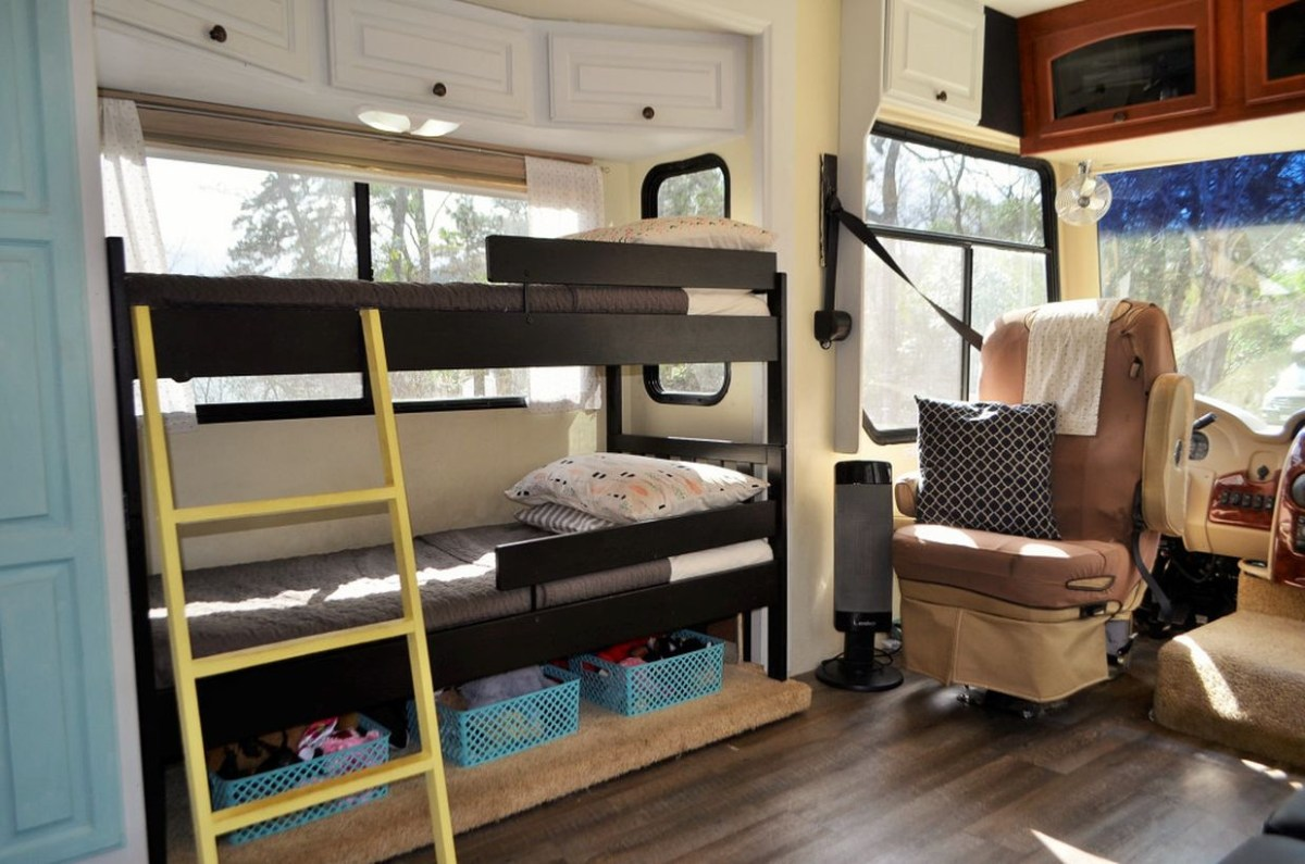 Creative functional furniture bedroom with desain graded, blanket gray color, and plastic storage under the bed