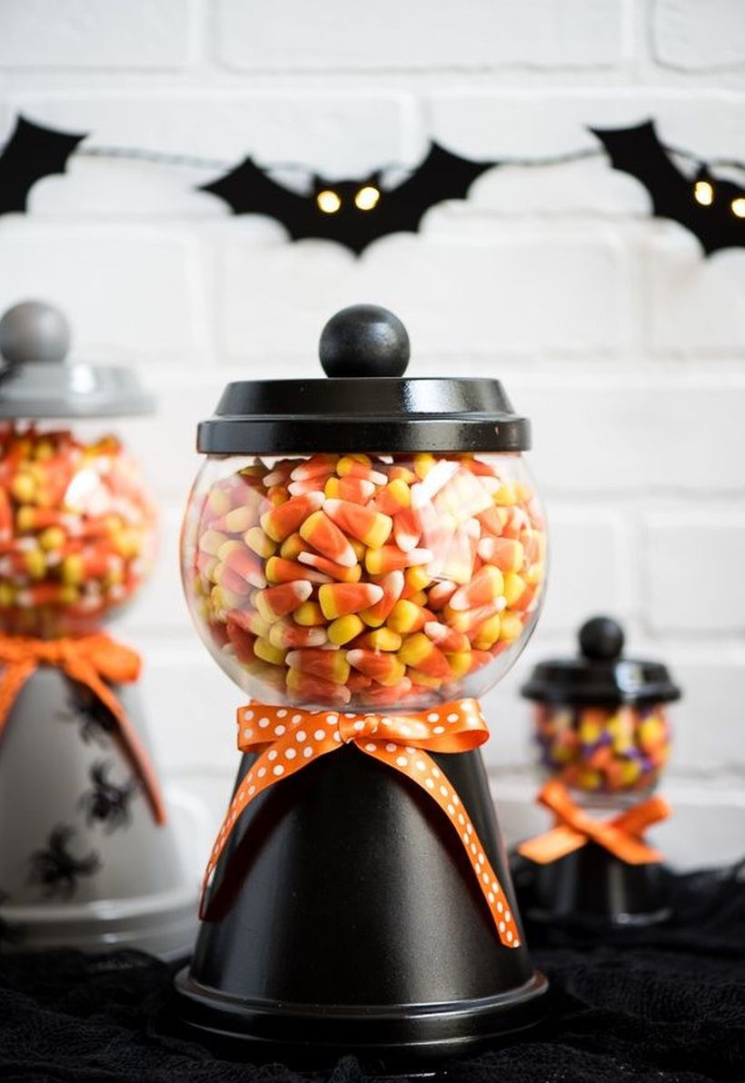 Diy fall ornaments with candy jar for decoration table
