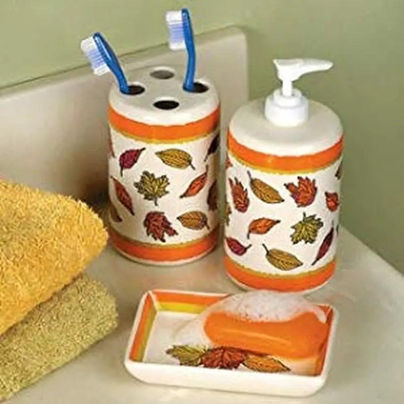 Fall leaves bathroom accessories set soap