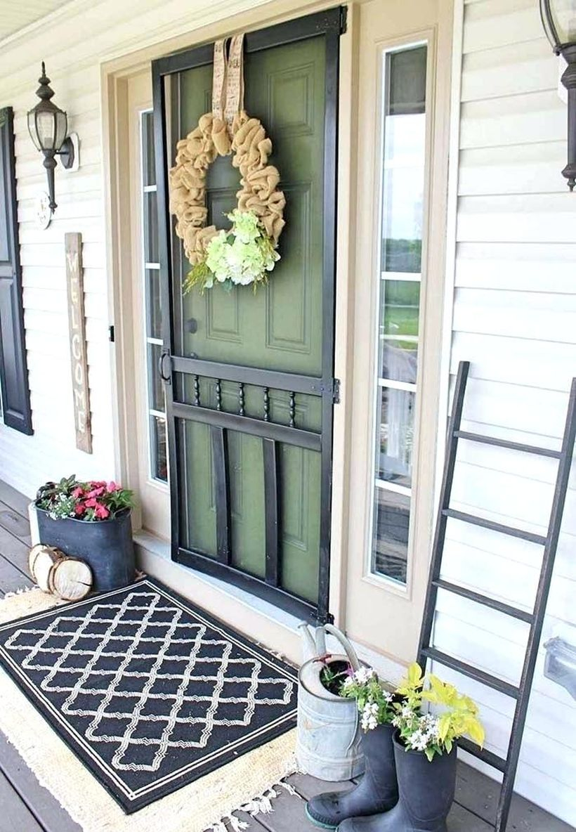 Farmhouse porch ornament with diy potted plants, a wreaths to decorate the front yard