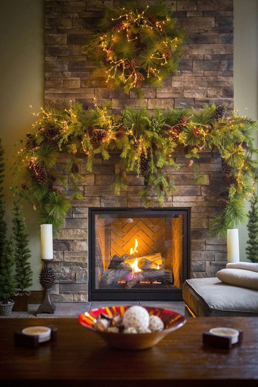 Green plants fireplace decoration ideas