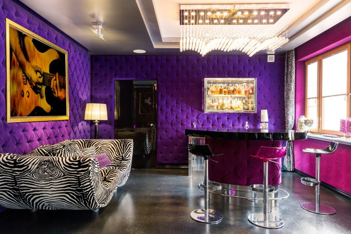 Home bar purple tufted walls