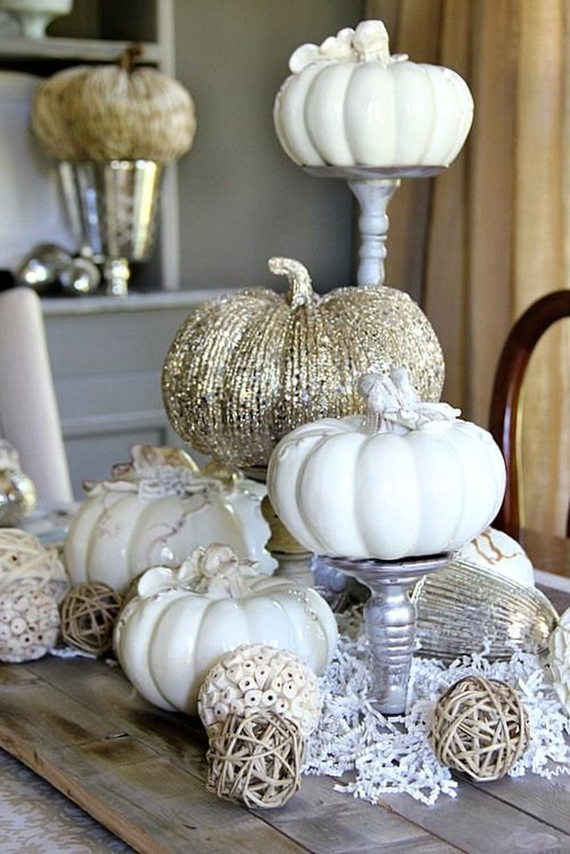 Mini white pumpkin ornaments small round rattan for your dining room