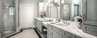 Modern bathroom design with white granite above cabinets to perfect your an elegant bathroom