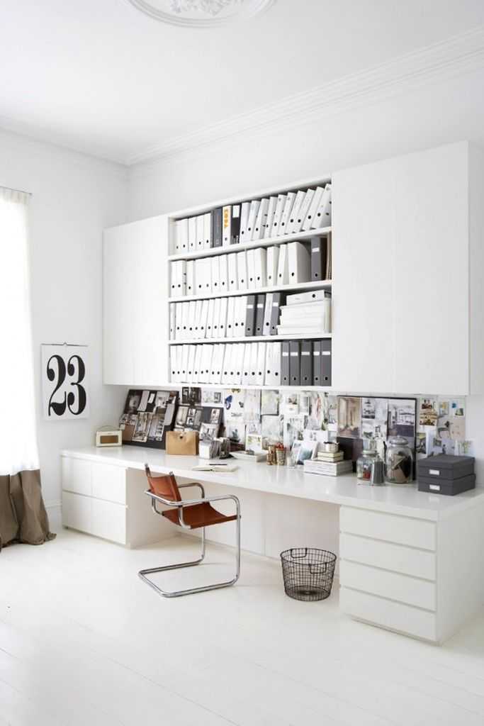 Modern desk design with white long desk to perfect your office home