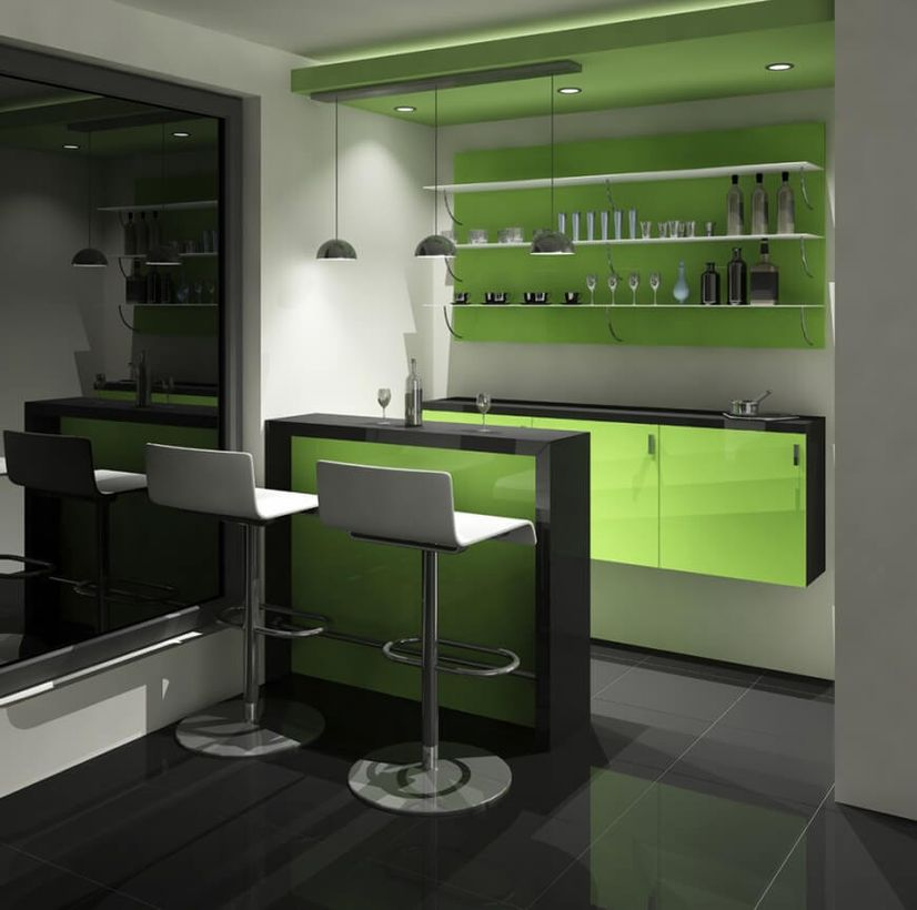 Modern green accent home bar