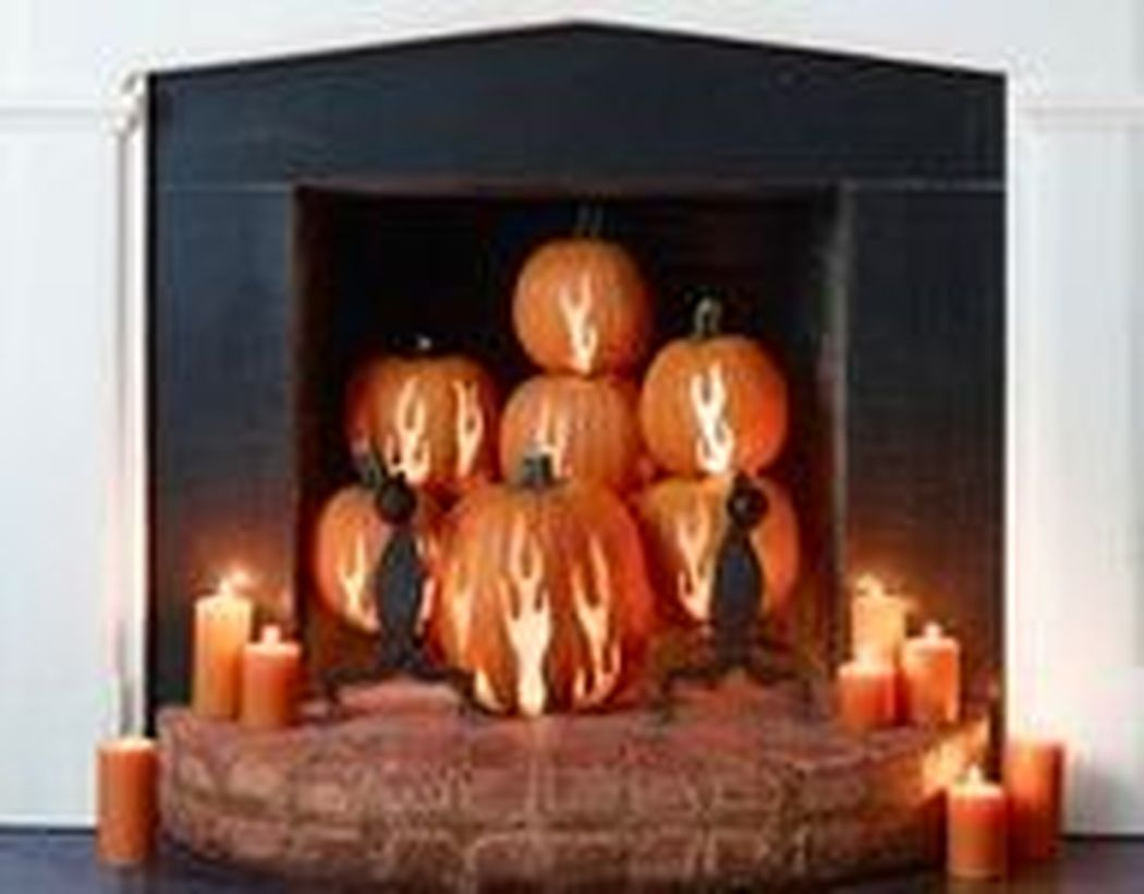 Orange pumpkin light fireplace decoration ideas