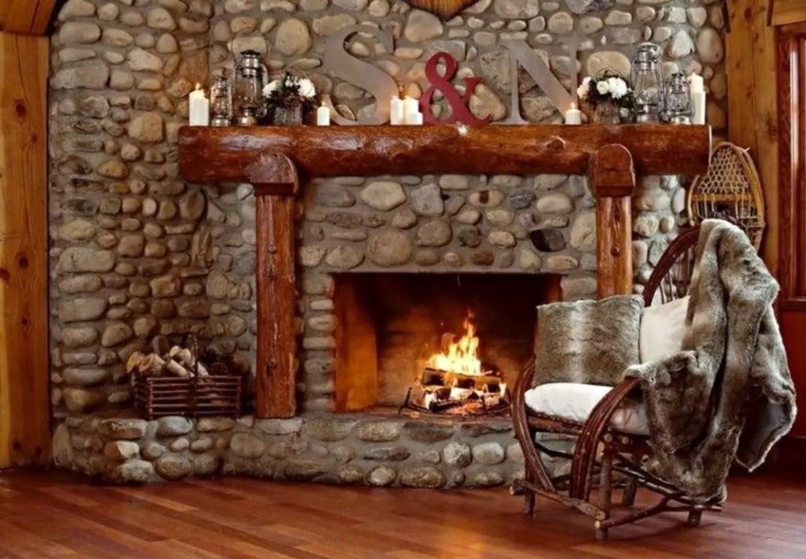 Rustic fireplace decoration ideas