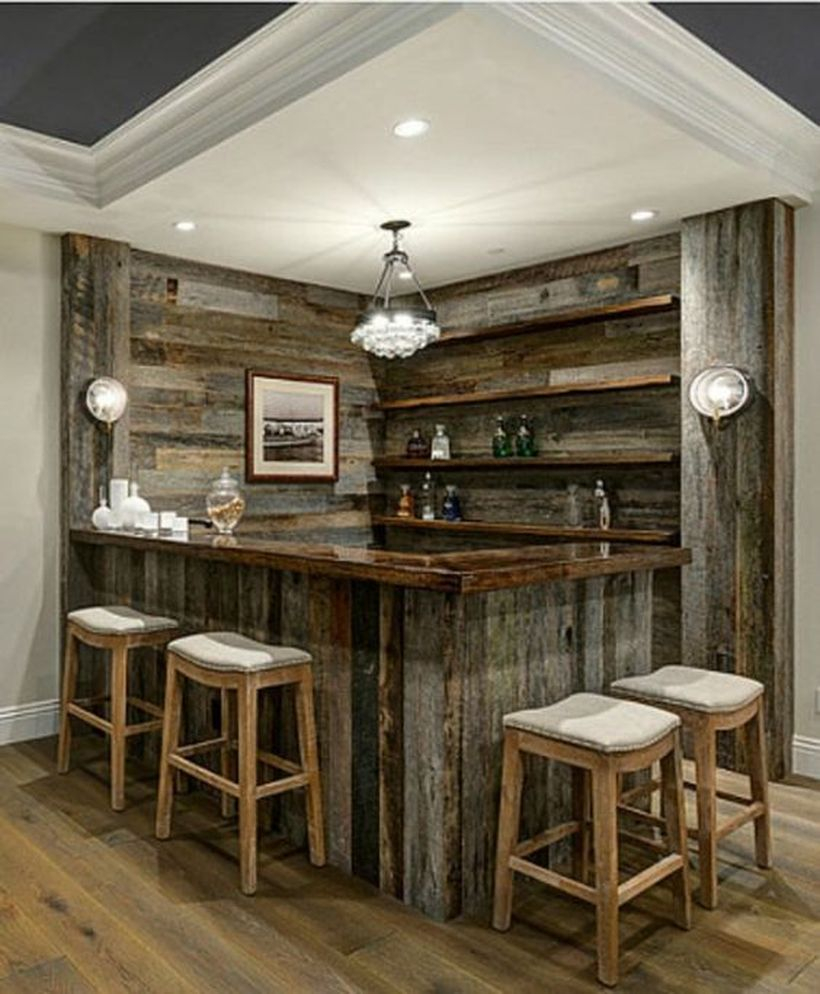 Rustic barnwood home bar