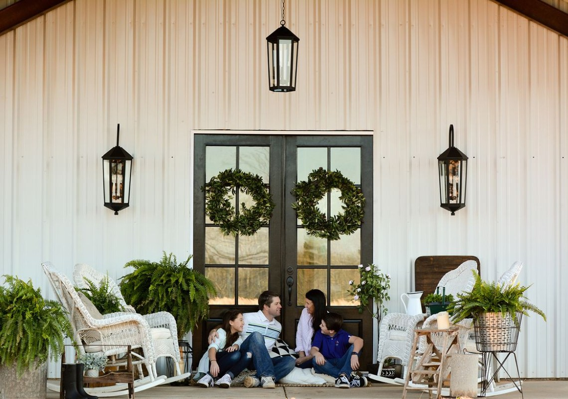 Simple farmhouse porch furniture with white rattan rocking chair to make your family more happy