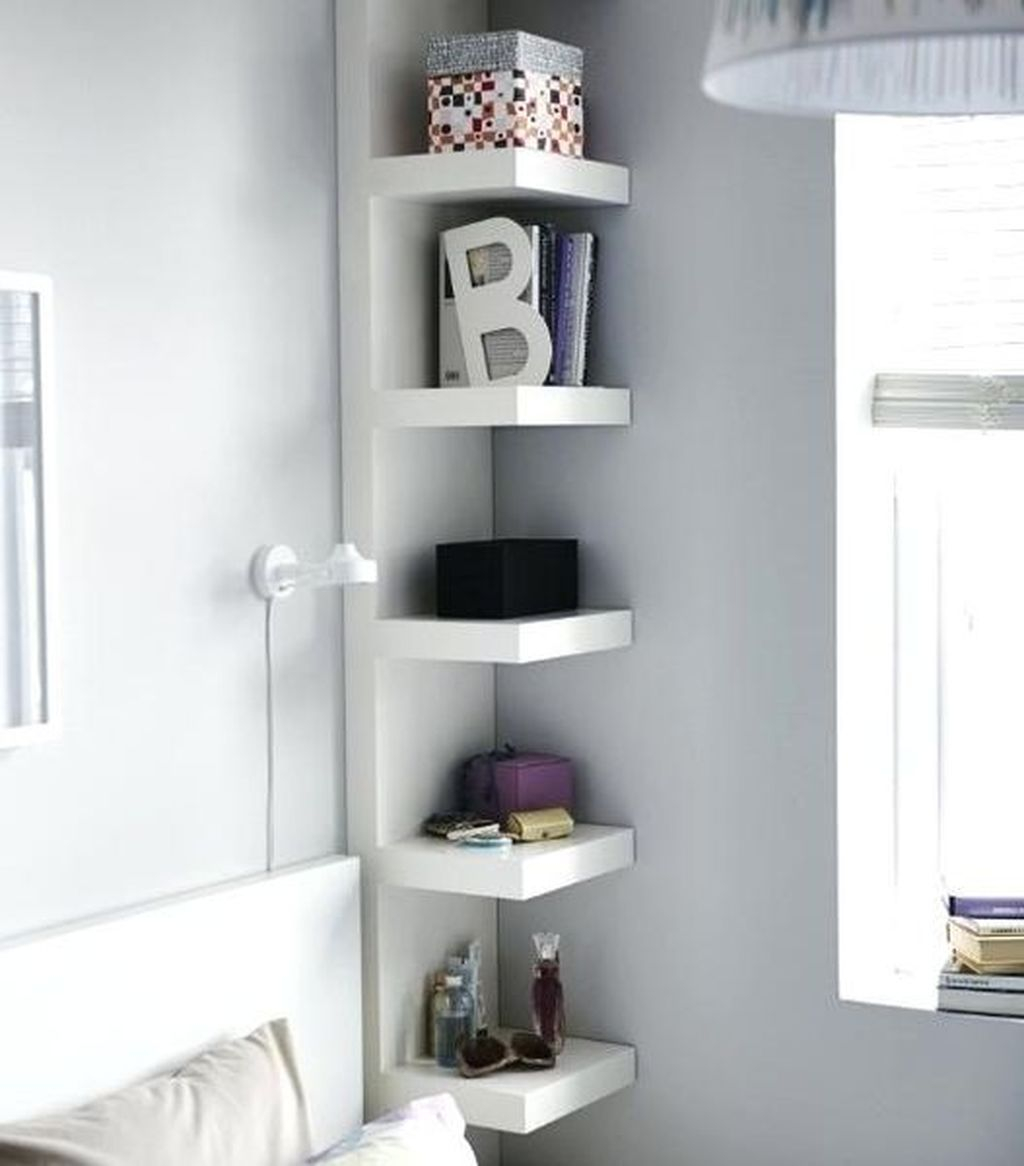 Simple diy shelves for teen girl bedroom with corner shelves ideas to perfect your bedroom design
