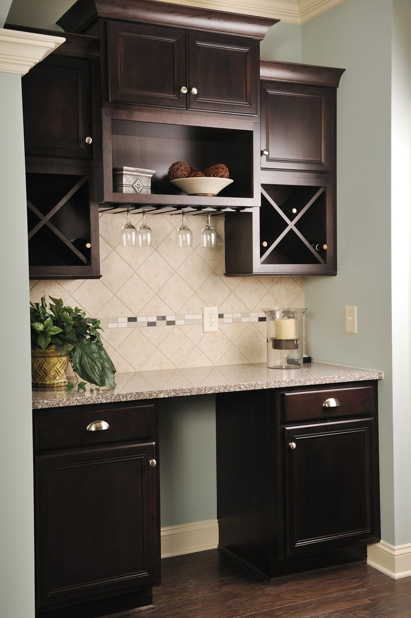 Small dark wood wet bar