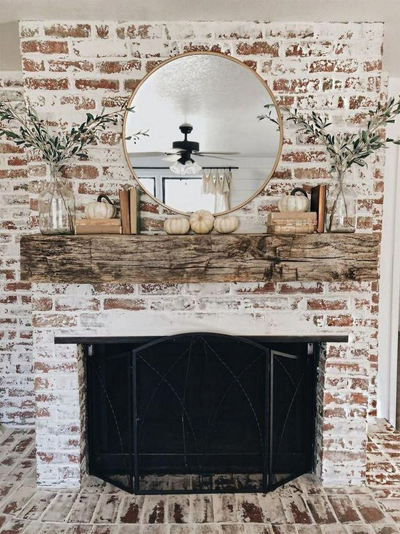 Small white pumpkin fireplace decoration ideas