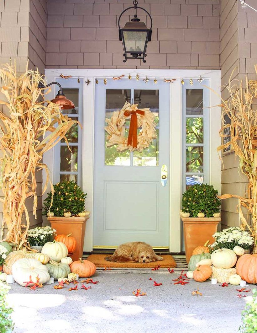 Stunning fall porch decor ideas with the dry foliage, red ribbon, hanging lamp, green plants in chocolate pots and pumpkins